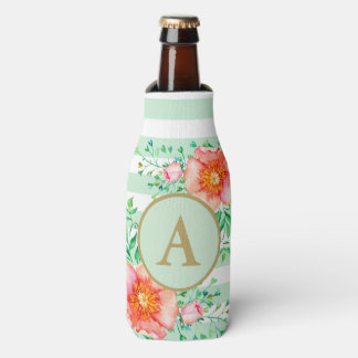 Porta-garrafa Branco floral da hortelã do monograma do ouro do