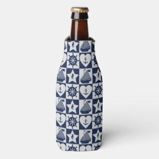 Porta-garrafa Branco náutico dos azuis marinhos checkered