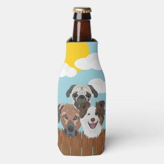 Porta-garrafa Cães afortunados da ilustração em uma cerca de