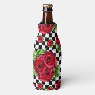 Porta-garrafa Checkered Rockabilly do amor floral do buquê das