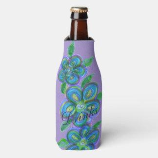 Porta-garrafa Cobrir floral roxo à moda da garrafa do desenhista