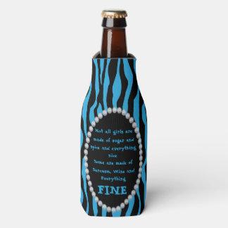 Porta-garrafa Cómico - zebra azul, diamantes não todo o bot das