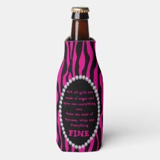 Porta-garrafa Cómico - zebra cor-de-rosa, diamantes não todo o