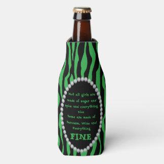 Porta-garrafa Cómico - zebra verde, diamantes não todo o bot das