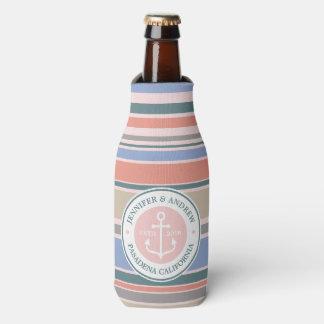 Porta-garrafa Do rosa na moda das listras da âncora do monograma