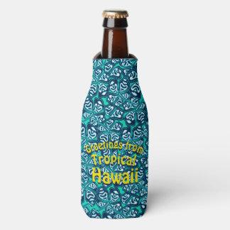 Porta-garrafa Floral tropical verde abstrato