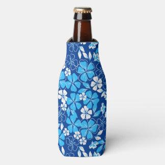 Porta-garrafa Flores azuis & brancas