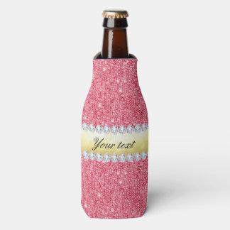 Porta-garrafa Folha e diamantes cor-de-rosa de ouro dos Sequins