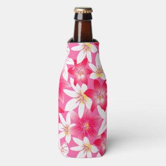 Porta-garrafa Hibiscus branco e cor-de-rosa floral