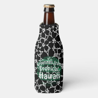 Porta-garrafa Hibiscus preto e branco tropical