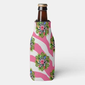 Porta-garrafa Hibiscus tropical e listras cor-de-rosa exóticas