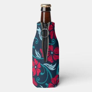 Porta-garrafa Hibiscus vermelho bordado impresso