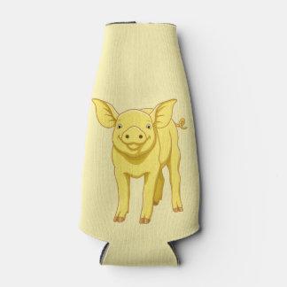 Porta-garrafa Leitão bonito porco dia do 17 de julho amarelo