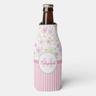Porta-garrafa Listras do rosa Pastel, do roxo, das flores, as
