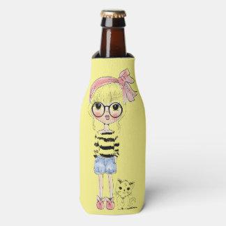 Porta-garrafa Menina bonito com vidros redondos e seu gato doce