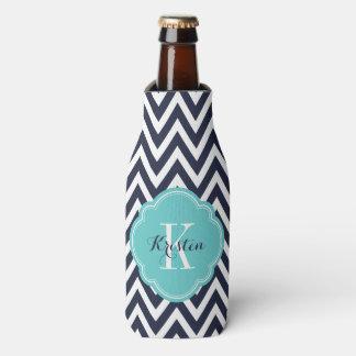 Porta-garrafa Monograma de Chevron dos azuis marinhos e da