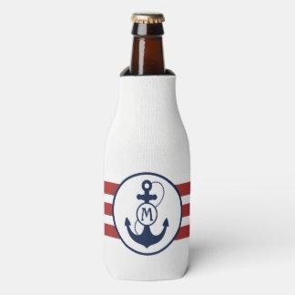 Porta-garrafa Monograma náutico da âncora do vermelho e dos