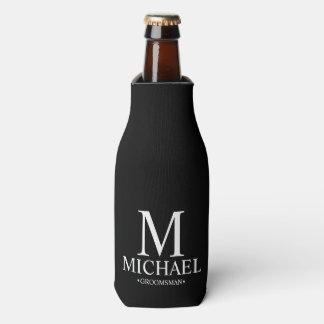 Porta-garrafa Padrinho de casamento personalizado preto e branco