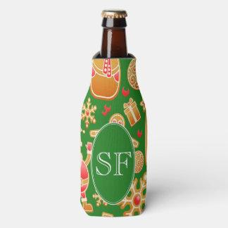 Porta-garrafa Papai noel e monograma festivos do pão-de-espécie