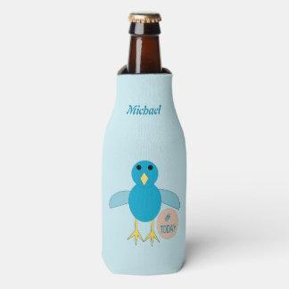 Porta-garrafa Pintinho azul feito sob encomenda do menino do