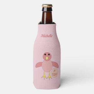 Porta-garrafa Pintinho cor-de-rosa feito sob encomenda da menina