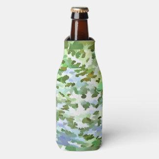 Porta-garrafa Pop art abstrato da folha no verde branco e no pó
