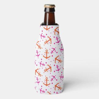 Porta-garrafa Teste padrão alaranjado cor-de-rosa náutico