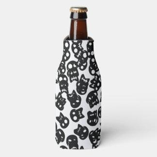 Porta-garrafa Teste padrão cómico do preto do crânio