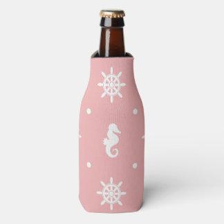 Porta-garrafa Teste padrão coral cor-de-rosa náutico