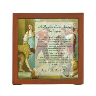 Porta-lápis 2x St. Agatha (M 003) com oração para enfermeiras