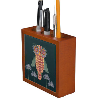 Porta Lápis A coruja da sabedoria e das flores