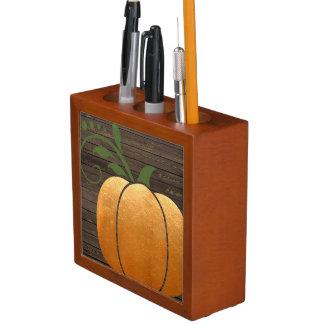 Porta-lápis Abóbora de madeira rústica do outono do ouro