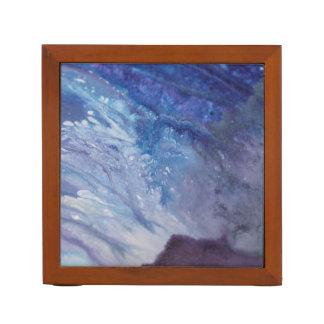 Porta-lápis Água branca azul triste da onda da pintura do