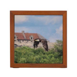 Porta-lápis Águia americana que passa o forte Ticonderoga