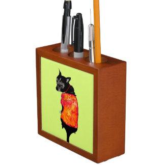 Porta-lápis Apoios de espiga com cão handgemaltem velho com