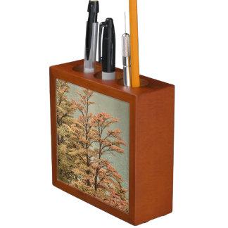Porta-lápis Árvores coloridas cena da paisagem no lago glacier