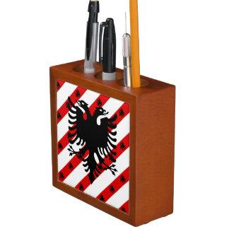 Porta-lápis Bandeira albanesa das listras