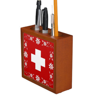 Porta Lápis Bandeira e edelweiss suíços