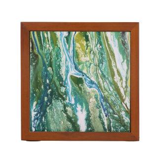 Porta Lápis Cachoeira azul verde abstrata colorida de turquesa