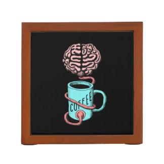 Porta Lápis Café para o cérebro. Ilustração engraçada do café