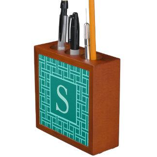 Porta Lápis Cerceta geométrica popular do monograma do teste