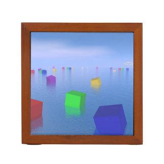 Porta-lápis Cubos coloridos que flutuam - 3D rendem