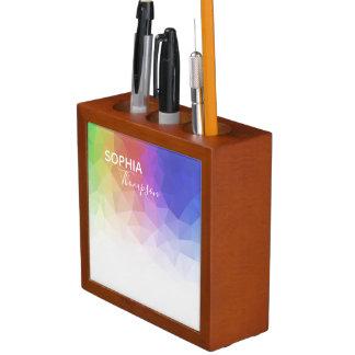 Porta-lápis Design poligonal do arco-íris colorido -