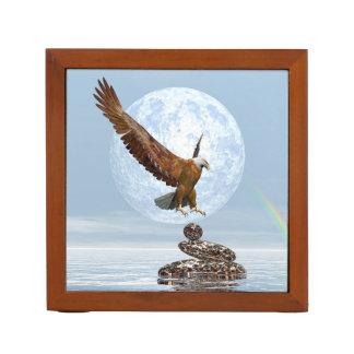 Porta-lápis Eagle que aterra em pedras equilibradas - 3D