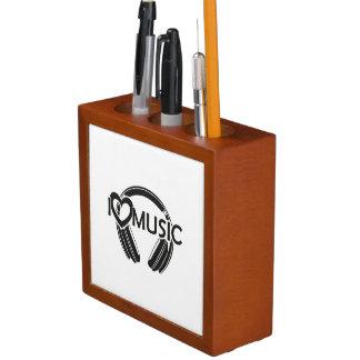 Porta-lápis Eu amo fones de ouvido da música
