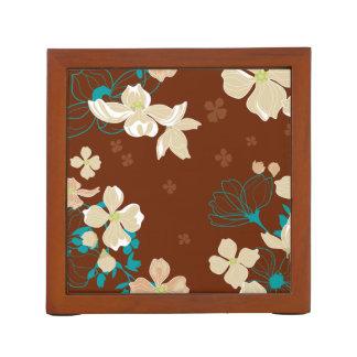 Porta Lápis Floral - bege e cerceta