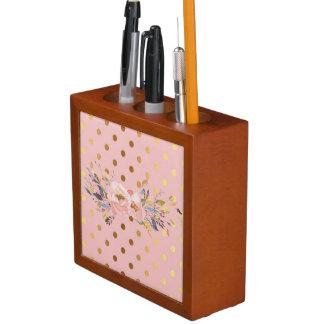 Porta-lápis Flores adoráveis das bolinhas do ouro do falso