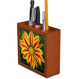Porta Lápis Foto alaranjada bonita da flor de Sun