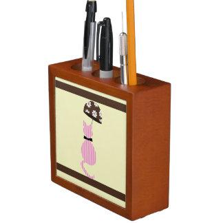 Porta-lápis Gato bonito da listra com guarda-chuva