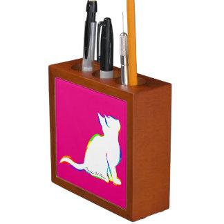 Porta-lápis Gato do arco-íris, suficiência branca, texto